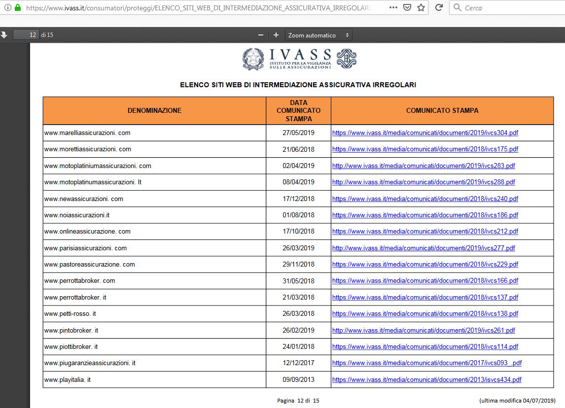 Una delle 15 pagine dell'elenco dei siti web di intermediazione assicurativa irregolari, aggiornato in data odierna