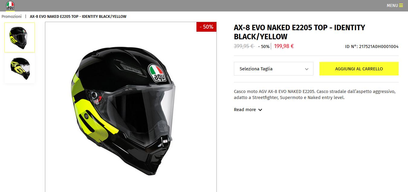 Casco Valentino Rossi, cartellino ridotto del 50%