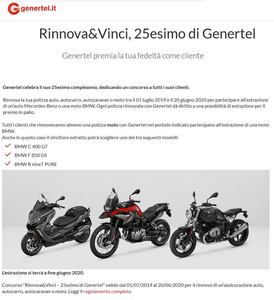 La pagina del sito Genertel dedicata all'iniziativa
