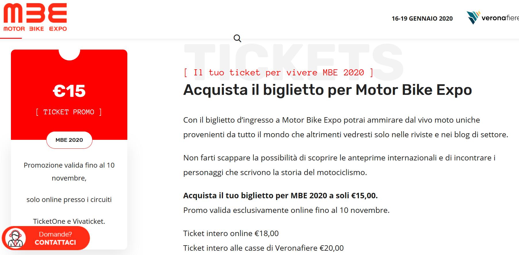 Motor Bke Expo 2020, biglietti scontati.